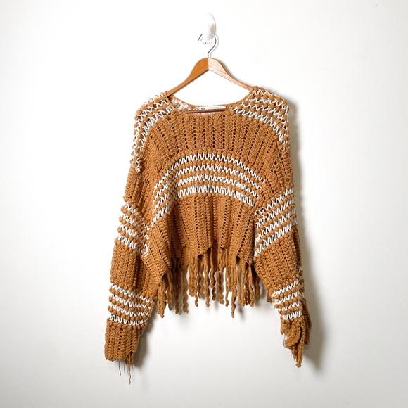 Zara Cottagecore Chunky Knit Tan Oversized Sweater